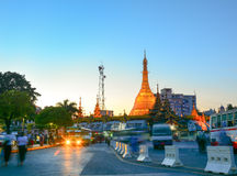 Night view of Yangon cityscape, Myanmar Royalty Free Stock Photography