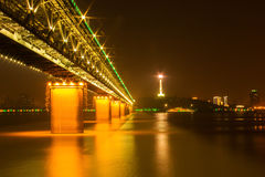 Night view of Yangtsze (Changjiang) Bridge Wuhan China Royalty Free Stock Image