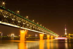 Night view of Yangtsze (Changjiang) Bridge Wuhan China Royalty Free Stock Images