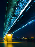 Night view of Yangtsze (Changjiang) Bridge Wuhan China stock photo