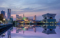 Night view of Yokohama, Japan. Yokohama, Japan aerial view at Minato Mirai waterfront district Royalty Free Stock Photography