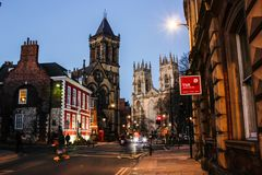 Night view of York old town in February 2019 royalty free stock images