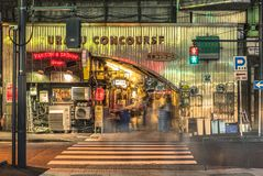 Night view of the Yurakucho Concourse underpass under the railway line of the station Yurakucho. Japanese noodle stalls and sake. Bars revive the nostalgic royalty free stock photos