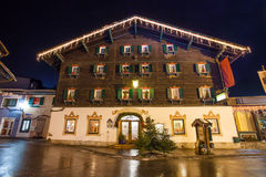 Night view from Zell Am See village. In Salzburg, Austria Stock Images