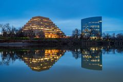 Night view of The Ziggurat and California State Teachers' Retire. Ment System at Sacramento, California royalty free stock images