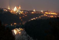 Night view of Znojmo town, Czech Republic Stock Photos