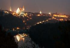 Night view of Znojmo town, Czech Republic Stock Photos