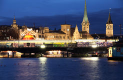 Night view of Zurich city Royalty Free Stock Photography
