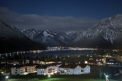 Night views of Achensee and Pertisau from Maurach, Austria. Night views of Achensee and Pertisau from Maurach, Austria royalty free stock photo