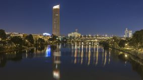 Night views of the city of seville. In andalucia in spain stock photo