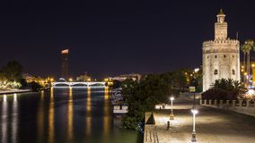 Night views of the city of seville. In andalucia in spain stock photography