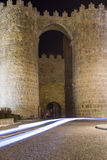 Night views of the medieval walled city of Avila Stock Image