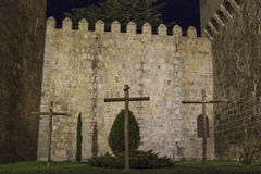 Night views of the medieval walled city of Avila Stock Photography