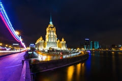 Night views of Moscow, hotel Ukraine Royalty Free Stock Photos