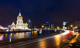 Night views of Moscow, hotel Ukraine Royalty Free Stock Photo