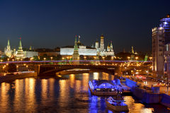 Night views of Moscow, the river, the bridge and the Kremlin Royalty Free Stock Photos