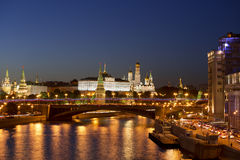 Night views of Moscow, the river, the bridge and the Kremlin Stock Photos