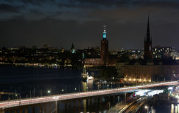 Night views of the old town Gamla Stan of Stockholm, Sweden. Night views of the old town Gamla Stan of Stockholm, Sweden stock images