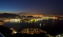 Night views of Rio from Sugar Loaf Mountain Royalty Free Stock Images