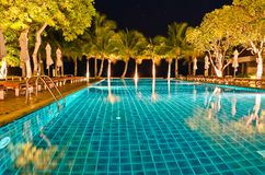 Night views of swiming pool Royalty Free Stock Photography