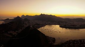 Night views to the Rio harbor from Sugar Loaf Mountain after sunset in Rio de Janeiro, Brazil.  royalty free stock image