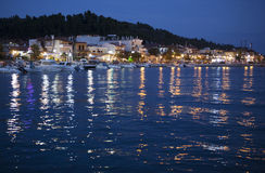 Night village sea Royalty Free Stock Photos