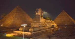 Night vision of Egypt pyramid. It is taken at Eco Park tourism Stock Photos