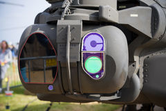 Night vision on a helicopter. LEEUWARDEN, NETHERLANDS - JUNE 10, 2016: Night vision instruments on an apache AH-64 combat helicopter Stock Photos