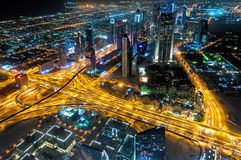 Night Vision Of Sheikh Zayed Road S Skyscrapers In Dubai, UAE Stock Photography