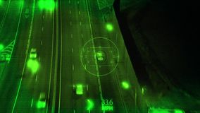 Night Vision and Surveillance from Drone with Zoom In, Tracking the Car Driving on Highway at Night stock illustration