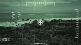 4k Aerial Tracking Enemy Terrain Concept. Night vision UAV / Attack Helicopter or tracking lock on concept stock footage