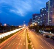 Night viwe of Beijing CBD with traffic light stock photos