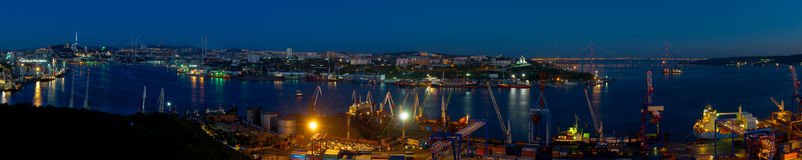 Night Vladivostok  Golden Horn Bay  Panorama Royalty Free Stock Images