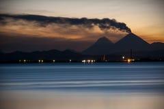 Night volcano. Eruption of the vulcano at Kamchatka Royalty Free Stock Photos