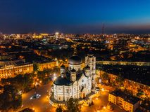 Night Voronezh, Annunciation Cathedral, aerial drone view royalty free stock photo