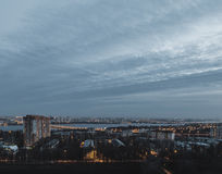 Night Voronezh city from the roof. Blue sky, night lights Royalty Free Stock Image