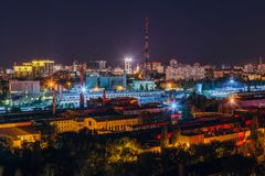 Night Voronezh cityscape, aerial view to industrial area and television broadcast tower.  Stock Images