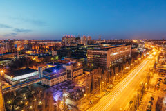 Night Voronezh cityscape from rooftop of Leninskiy Prospect Stock Photo