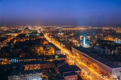 Night Voronezh downtown. Aerial view from skyscraper roof height to Revolution prospect - central street of Voronezh.  Royalty Free Stock Photo