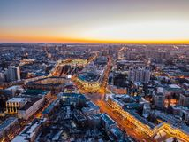 Night Voronezh downtown district. Aerial panoramic view taken by drone stock photography