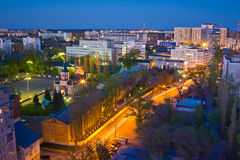 Night Voronezh skyline. View to Voronezh Air Force Academy. Named by Zhukovsky and Gagarin and Church of St. Great Martyr Panteleimon Royalty Free Stock Image