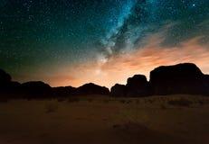 Night in Wadi Rum desert. Jordan Royalty Free Stock Photos