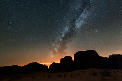 Night in Wadi Rum desert. Jordan Royalty Free Stock Photography