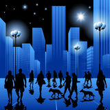 Night walk in the city Royalty Free Stock Photography