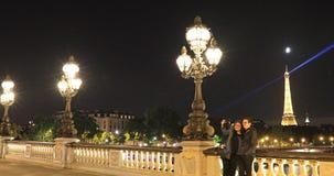 Night walk in Paris stock video