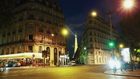 Night walk on Paris streets stock footage