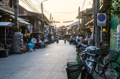 Night walking street market, Chiang Khan. Royalty Free Stock Images