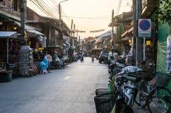 Night walking street market, Chiang Khan. Royalty Free Stock Images