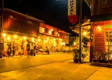 Night walking street market, Chiang Khan. Royalty Free Stock Photos