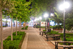 Night walkway old Pomorie, Bulgaria stock image